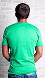 Футболка чоловіча спортивна річна без малюнка зелена трикотажна бавовна (Україна), фото 2