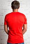 Футболка чоловіча спортивна річна без малюнка червона трикотажна бавовна (Україна), фото 2