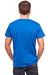 Синяя футболка мужская спортивная летняя без рисунка трикотажная хб (Украина), фото 2