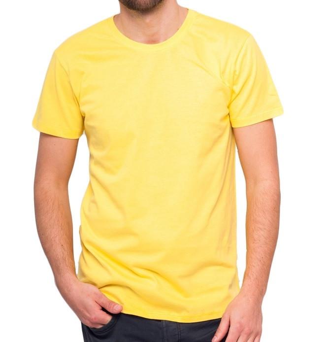 Футболка мужская спортивная летняя желтая без рисунка трикотажная хб (Украина)