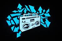 Неоновая футболка Магнитофон  со светящейся анимированной картинкой, размеры XXS, L, XXXL
