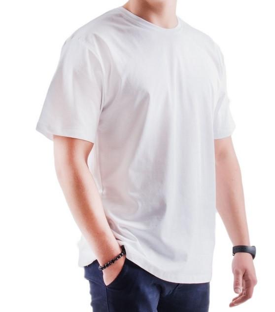 Белая футболка мужская спортивная летняя без рисунка прямая трикотажная хб (Украина)