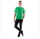 Мужская футболка спортивная летняя больших размеров  зеленая без рисунка прямая трикотажная хб (Украина), фото 2