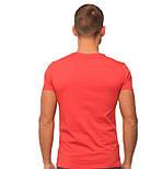 Футболка мужская спортивная летняя без рисунка красная трикотажная хб (Украина), фото 2