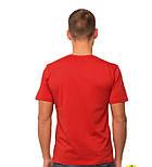 Красная мужская футболка спортивная летняя больших размеров без рисунка прямая трикотажная хб (Украина), фото 2