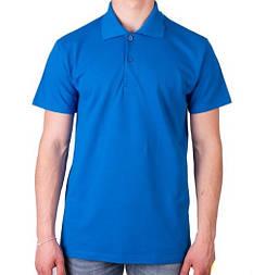 Мужская футболка поло синяя спортивная больших размеров без рисунка лакоста трикотажная хб (Украина)