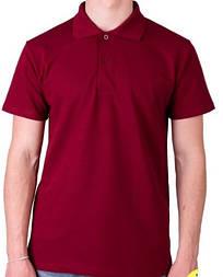 Мужская футболка поло бордовая спортивная больших размеров без рисунка лакоста трикотажная хб (Украина)