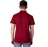 Мужская футболка поло бордовая спортивная больших размеров без рисунка лакоста трикотажная хб (Украина), фото 2
