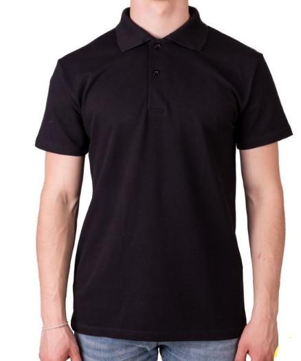 Черная мужская футболка поло спортивная больших размеров без рисунка лакоста трикотажная хб (Украина)