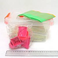 Набор кинетического песка в пластик.конт. 2кг с форм.6шт. и бассейн.40*60см, mix6 (кварц.осн)