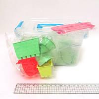 Набор кинетического песка в пластик.контейнере 1кг с форм.6шт. и стеками 5шт., mix6 (кварц.основа)