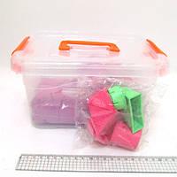 Набор кинетического песка в пластик.контейнере 2кг с форм. 6шт., mix6 (кварц.основа)