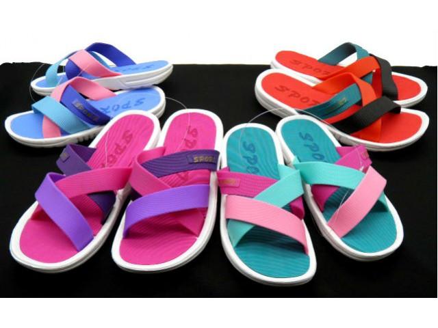 Шлепки * Fashion 7506-2 красный, розовый, голубой, бирюзовый * 21372
