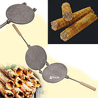 Форма для выпечки вафельных трубочек вафельница круглая 220 мм (большая, деревянные ручки, квадраты)