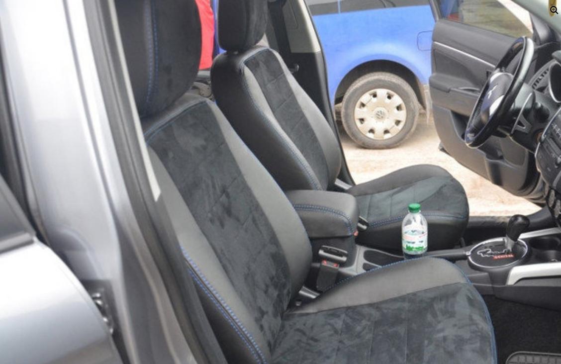 Чехлы на сиденья Рено Трафик (Renault Trafic) 1+1 (модельные, экокожа+Алькантара, отдельный подголовник)