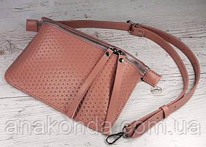 462-1 Натуральная кожа, Сумка бананка женская, на молнии, розовая сумочка пудровая Сумка пудра Сумка на пояс, фото 3