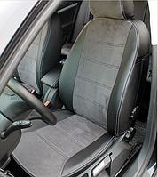 Чехлы на сиденья Рено Меган 2 (Renault Megane 2) (модельные, экокожа Аригон+Алькантара, отдельный подголовник)