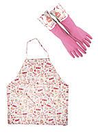 Набор (фартук + рукавицы) Liao Uni Розовый, Белый