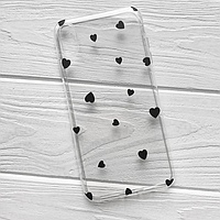 Прозрачный Чехол для Apple iPhone 7 Plus 8 Plus Черные Сердечки