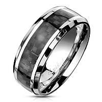 Мужское кольцо из стали  и карбона Spikes R-M2313, р. 19, 20, 20.5, 21.5, 22.5