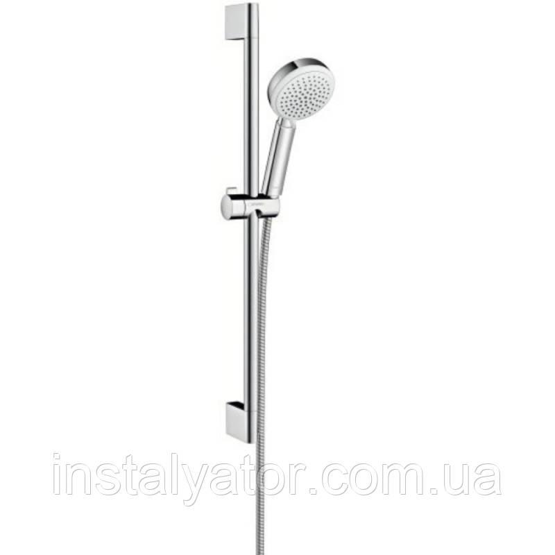 Hansgrohe Crometta 100 26651400 душевая стойка 0,65м белый хром (стойка+лейка+шланг)