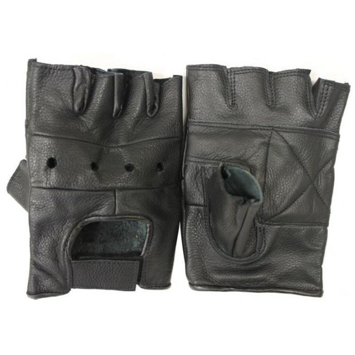 Кожаные беспалые перчатки MilTec Black 12517002 M