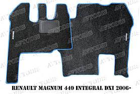 Renault Magnum 440 Integral DXI 2006- ворсовые коврики (чёрный-синий) ЛЮКС
