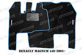 Renault Magnum 440 2001- ворсовые коврики (чёрный-красный) ЛЮКС