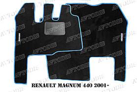 Renault Magnum 440 2001- ворсовые коврики (чёрный-синий) ЛЮКС