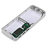 Powerbank 3x USB 1-2A + LED + Дисплей/ Повербанк тройной USB плюс фонарик Белый без батарей, фото 3