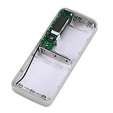 Powerbank 3x USB 1-2A + LED + Дисплей/ Повербанк тройной USB плюс фонарик Белый без батарей, фото 4