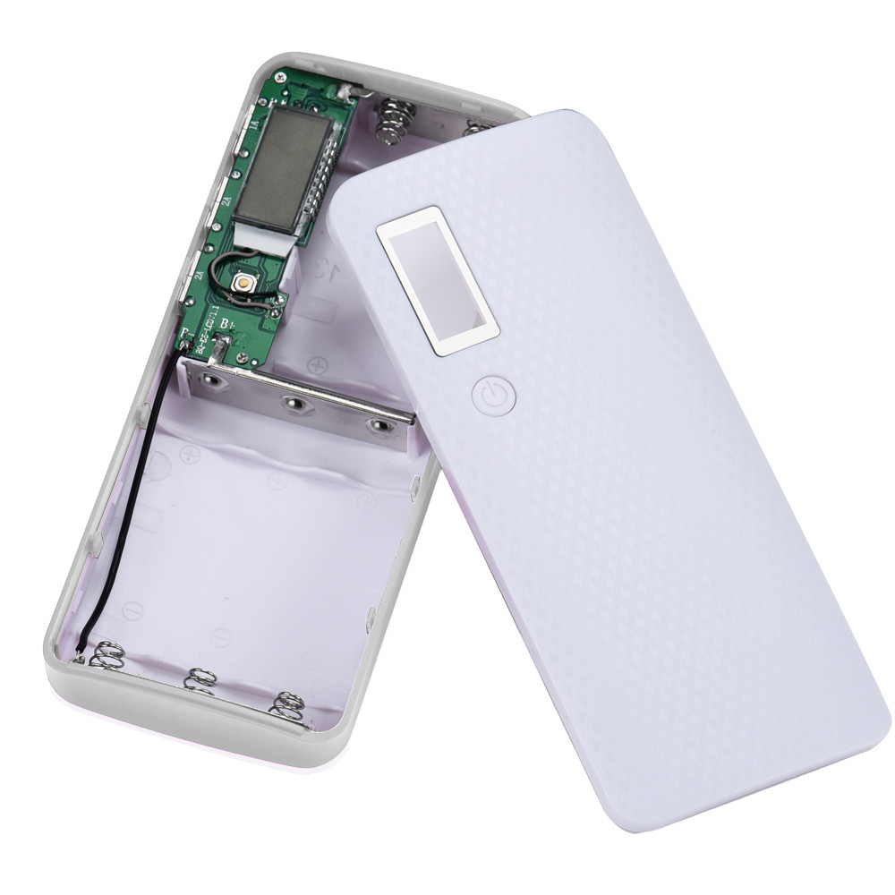 Powerbank 3x USB 1-2A + LED + Дисплей/ Повербанк тройной USB плюс фонарик Белый без батарей
