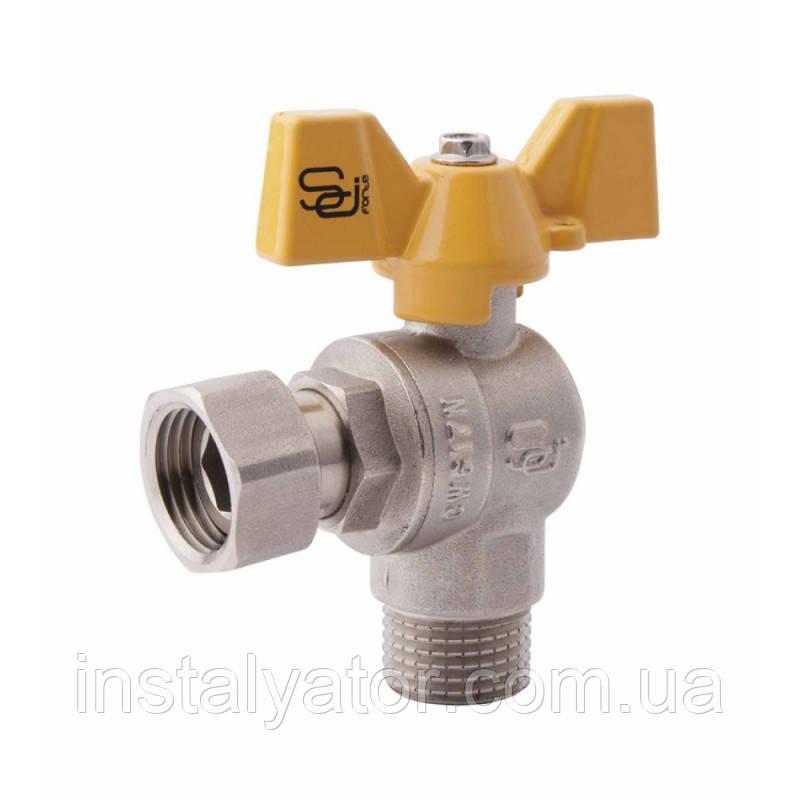 SD FORTE Кран шаровой угловой с накидной гайкой для газа 3/4в х 3/4н   SF225G20
