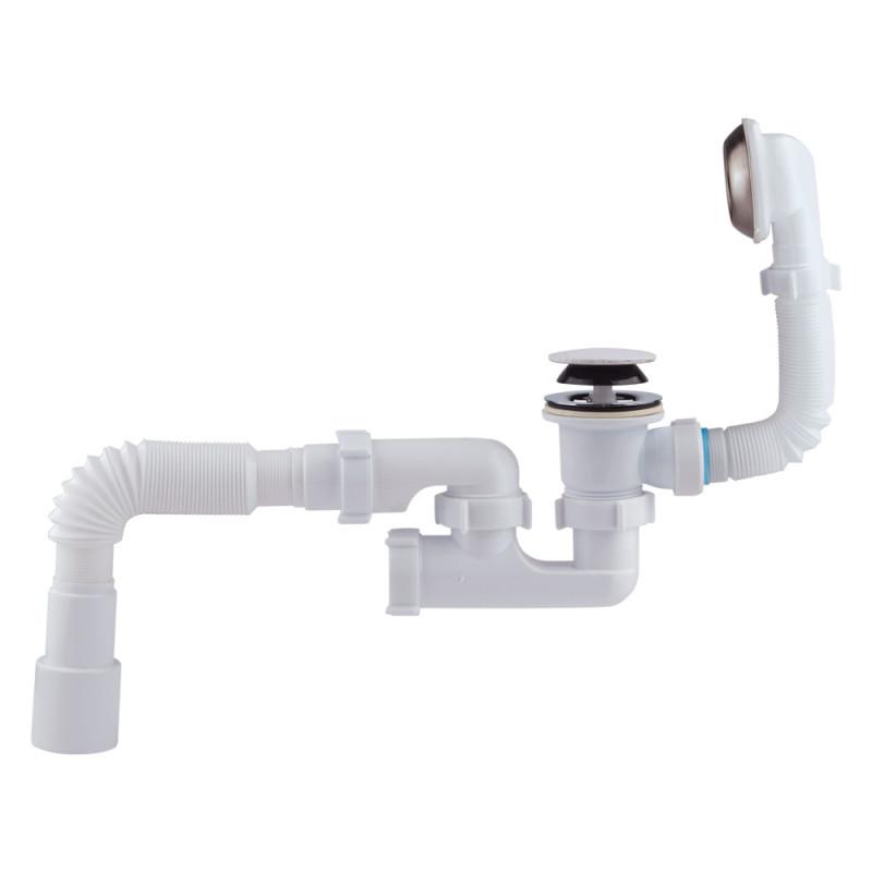 """Сифон Kronoplast  (В0550К) """"клик-клак"""" для ванны с ревизией, с выпуском и переливом 11/2"""" (выход 50 мм)"""