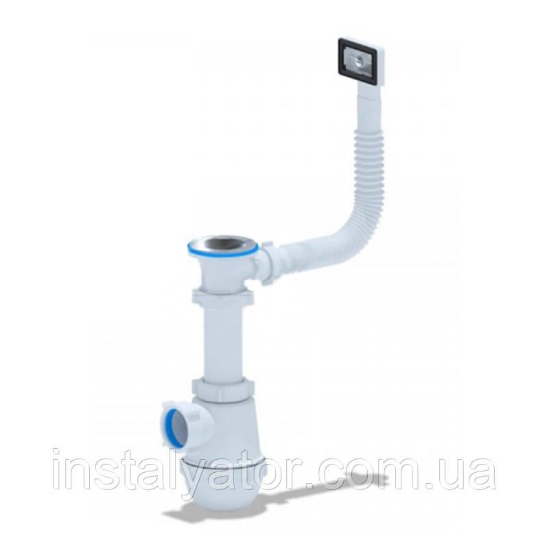 АНИ Сифон (А0140S) для кухни, выпуск 70 мм с гибким переливом (выход 50 мм)