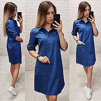 Новинка!!! Стильное платье - рубашка c карманами, арт 831, цвет синий джинс в точку