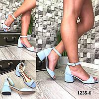 Женские замшевые босоножки,на каблуке , фото 1