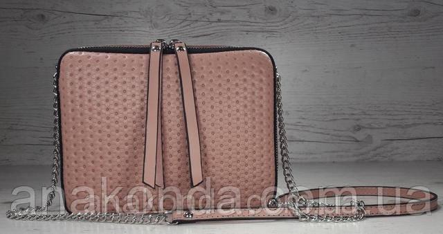 кросс-боди, пудровая розовая, тиснение сумочка пудра