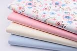"""Тканина бавовняна """"Горобці і анемони"""" рожево-блакитні на білому № 1977а, фото 7"""