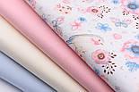 """Ткань хлопковая """"Воробьи и анемоны"""" розово-голубые на белом  № 1977а, фото 8"""