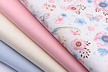 """Тканина бавовняна """"Горобці і анемони"""" рожево-блакитні на білому № 1977а, фото 8"""