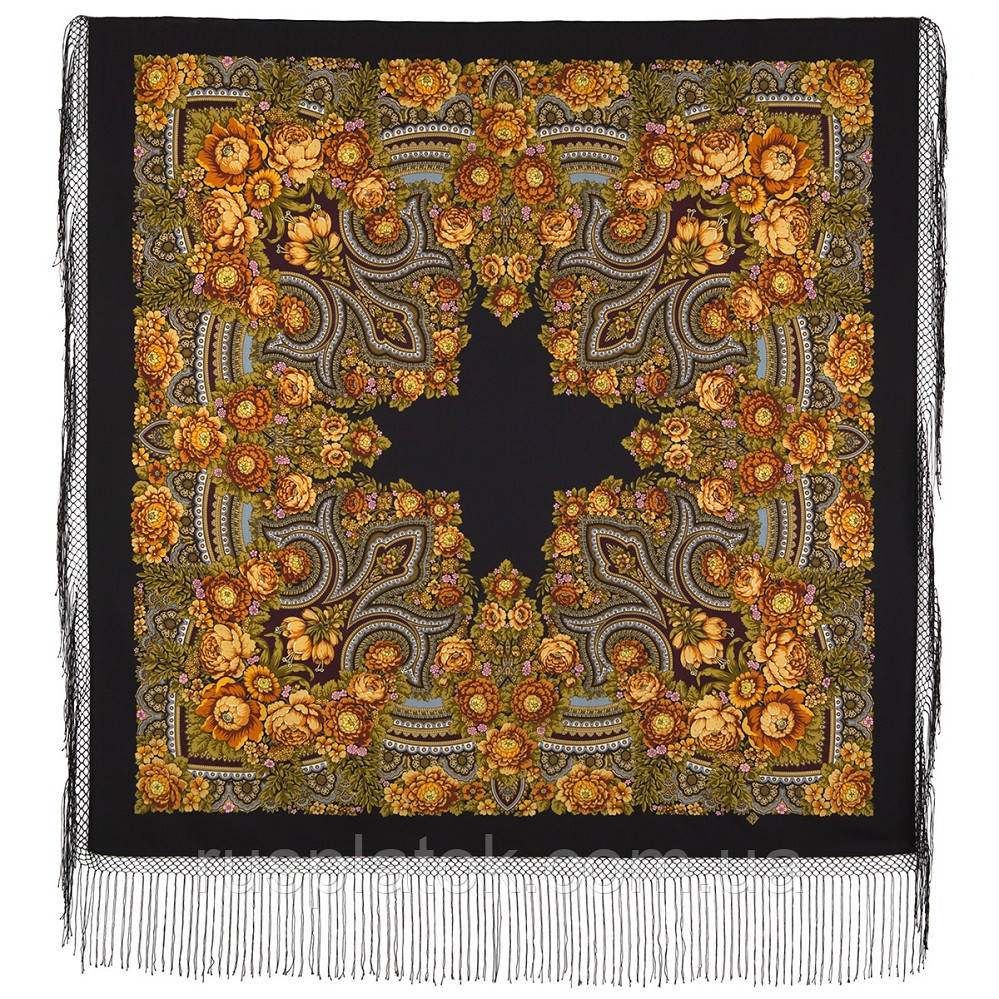 Боярыня 334-24, павлопосадский платок (шаль) из уплотненной шерсти с шелковой вязанной бахромой