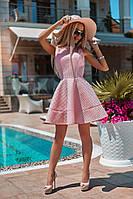 Платье женское Летнее расклешенное неопреновое пудра