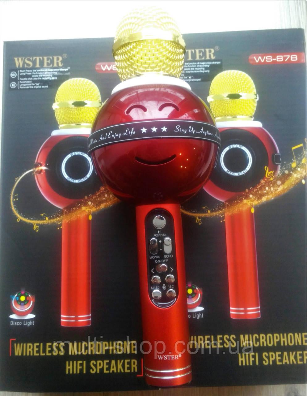 Портативный беспроводной блютуз микрофон WS-878 + караоке