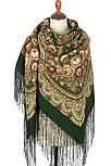 Посадский 874-10, павлопосадский платок (шаль) из уплотненной шерсти с шелковой вязаной бахромой, фото 3