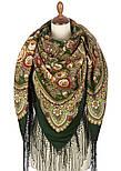 Посадский 874-10, павлопосадский платок (шаль) из уплотненной шерсти с шелковой вязаной бахромой, фото 4