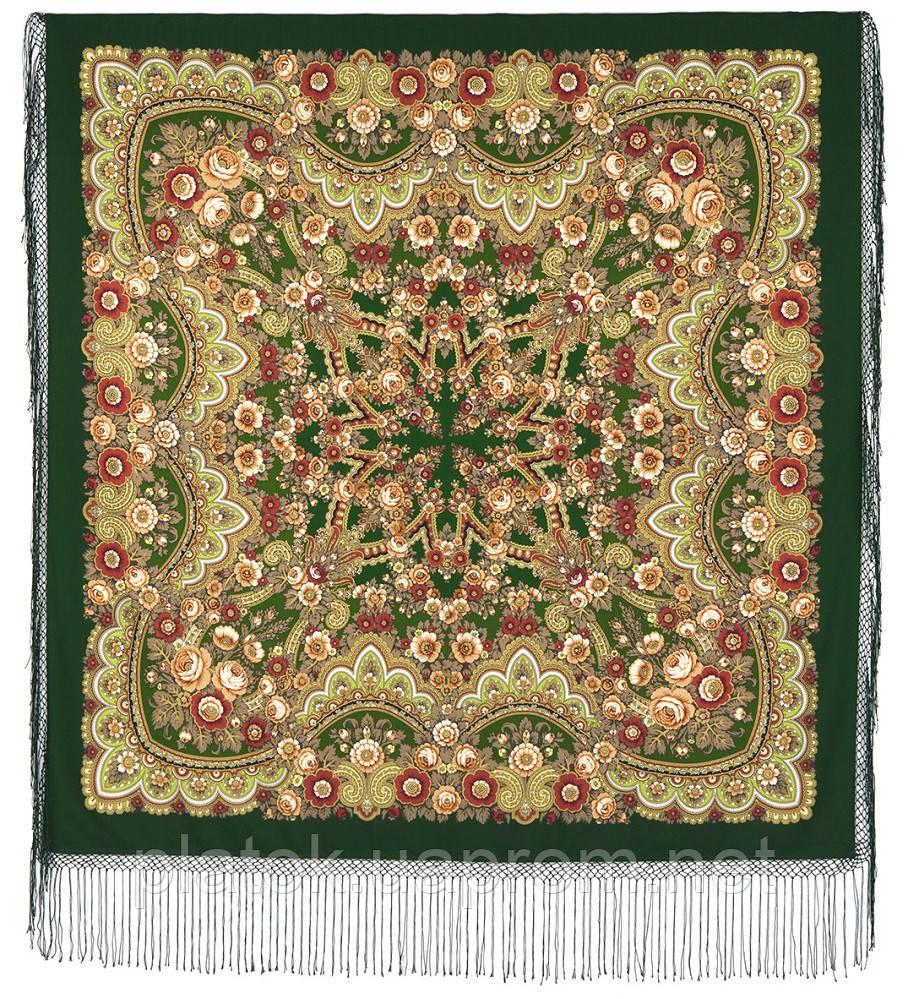 Посадский 874-10, павлопосадский платок (шаль) из уплотненной шерсти с шелковой вязанной бахромой