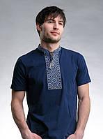 Вышиванка футболка мужская, Вишиванка чоловіча, трикотажна, синя, р-р 42-56