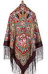 Посадський 874-7, павлопосадский хустку (шаль) з ущільненої вовни з шовковою бахромою в'язаній, фото 2