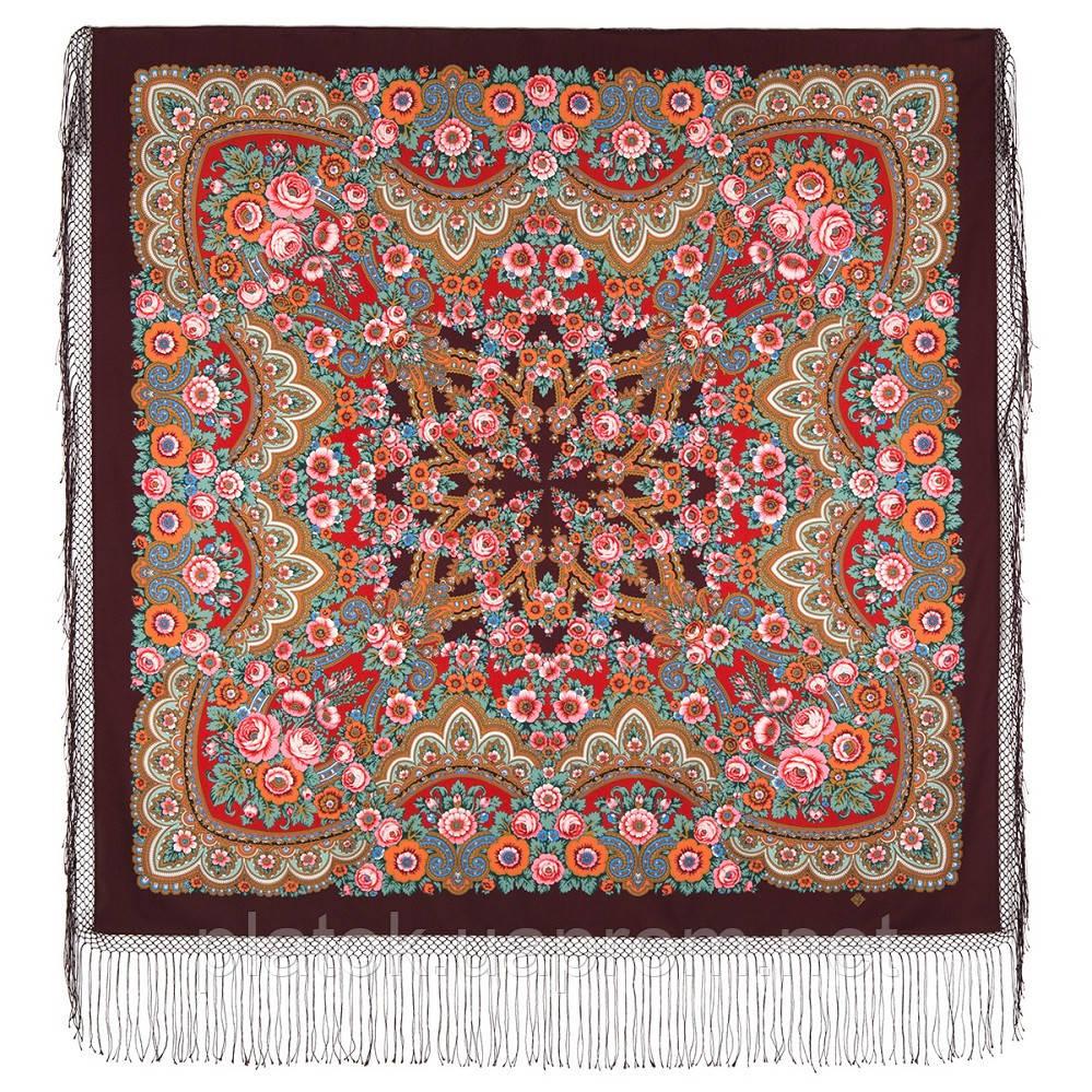 Посадський 874-7, павлопосадский хустку (шаль) з ущільненої вовни з шовковою бахромою в'язаній